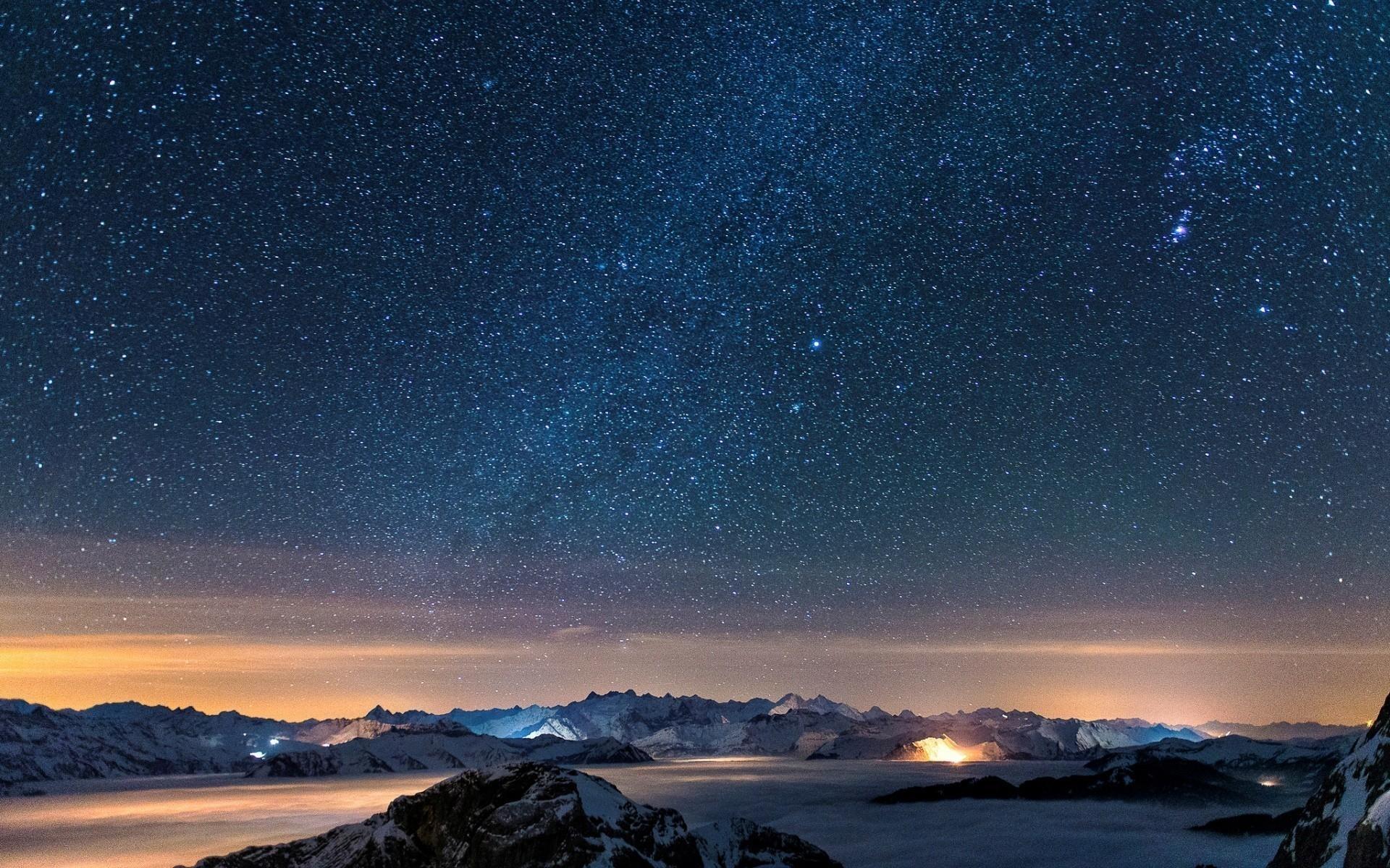 snow stars wall night sky wallpaper | (31808)