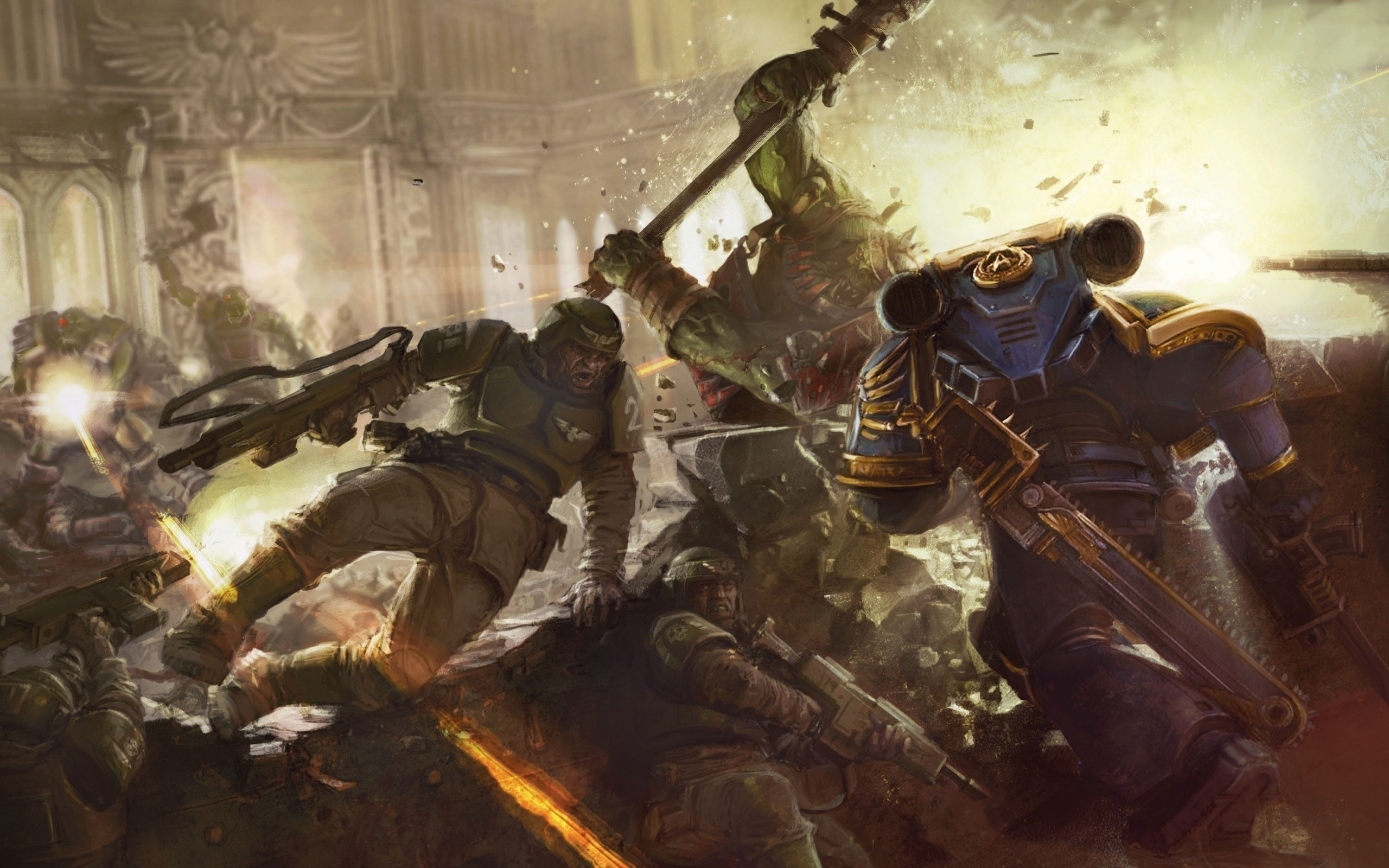 space marines and imperial guard vs orks wallpaper | fantasy