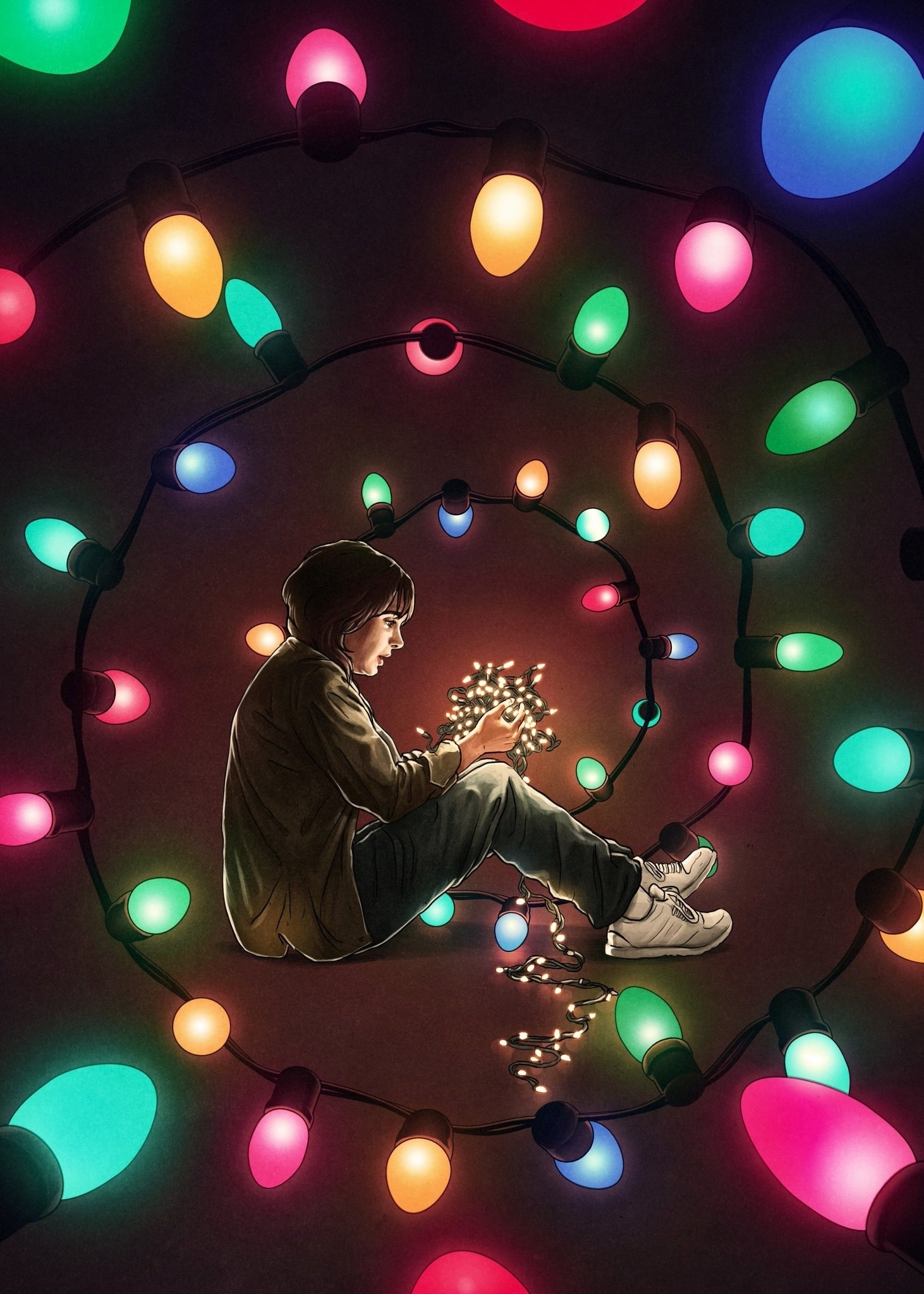 stranger things, colorful, lights, artwork, netflix wallpapers hd