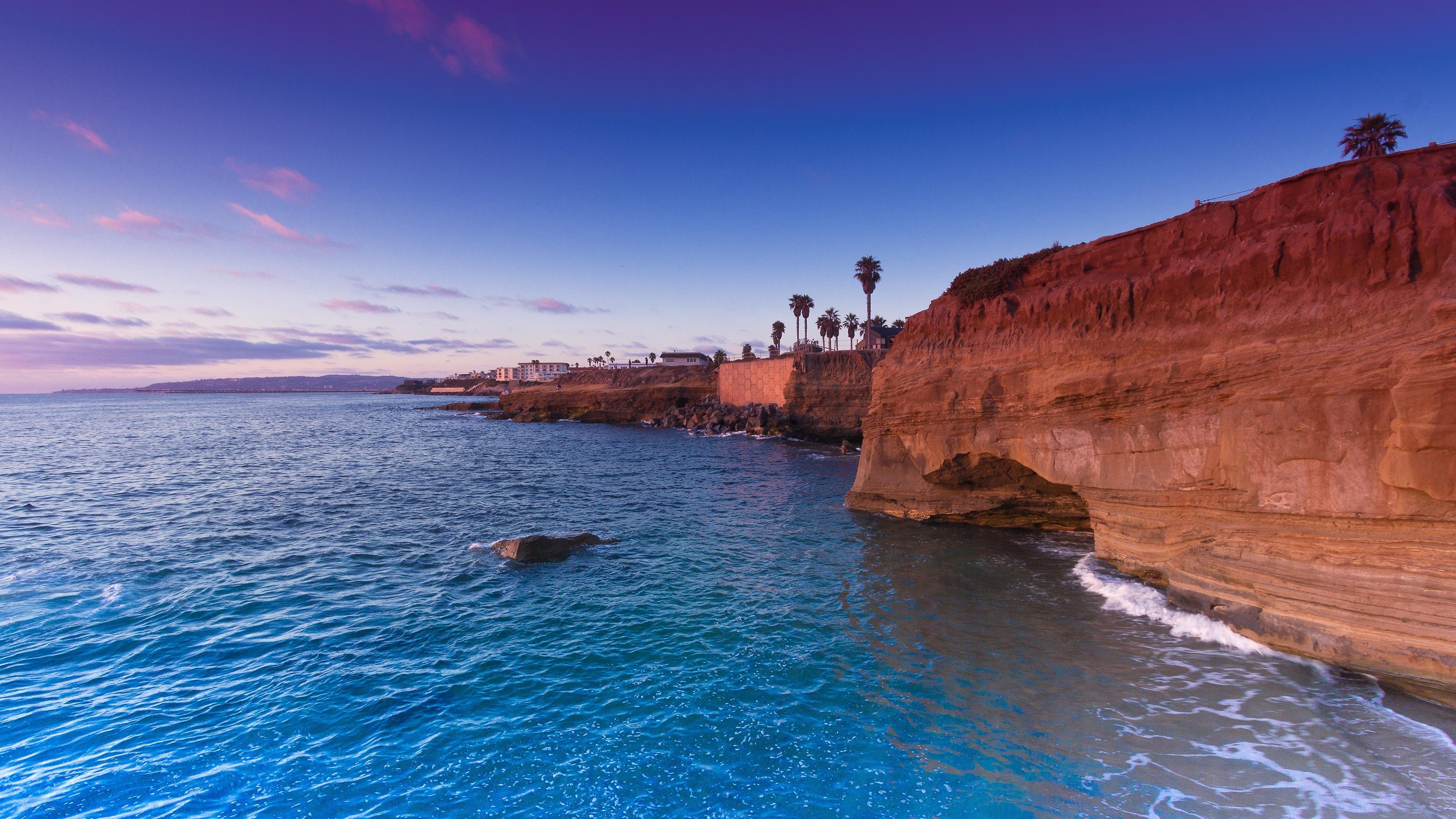sunset cliffs pacific ocean san diego 4k ultra hd desktop wallpaper