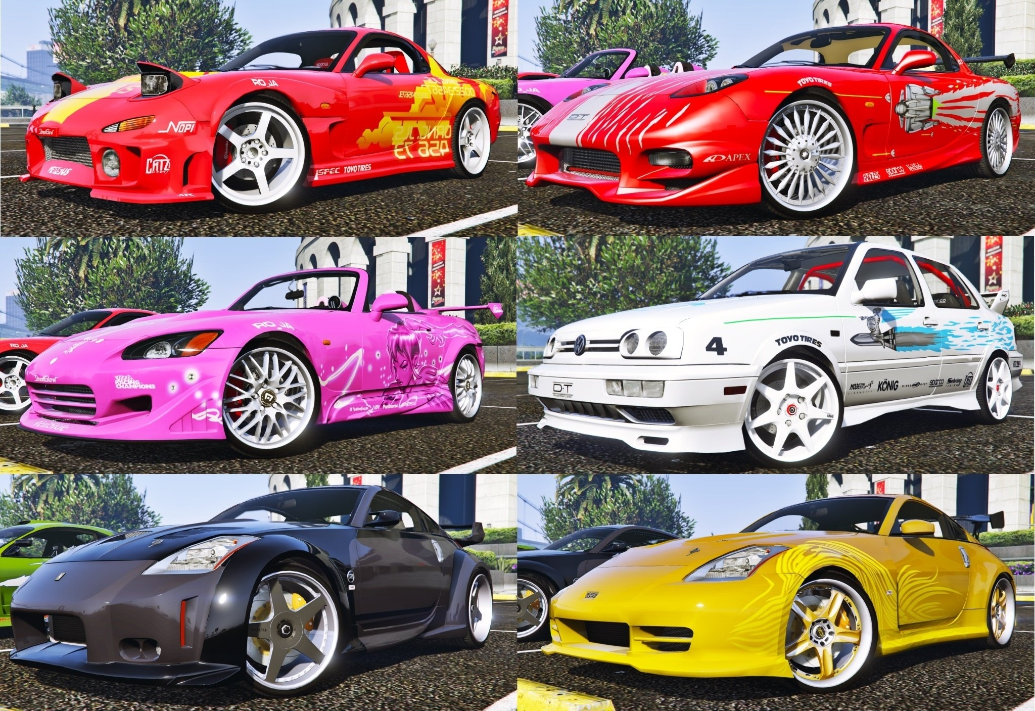 the fast and the furious cars pack 2 [hq-add-on-animated] - gta5