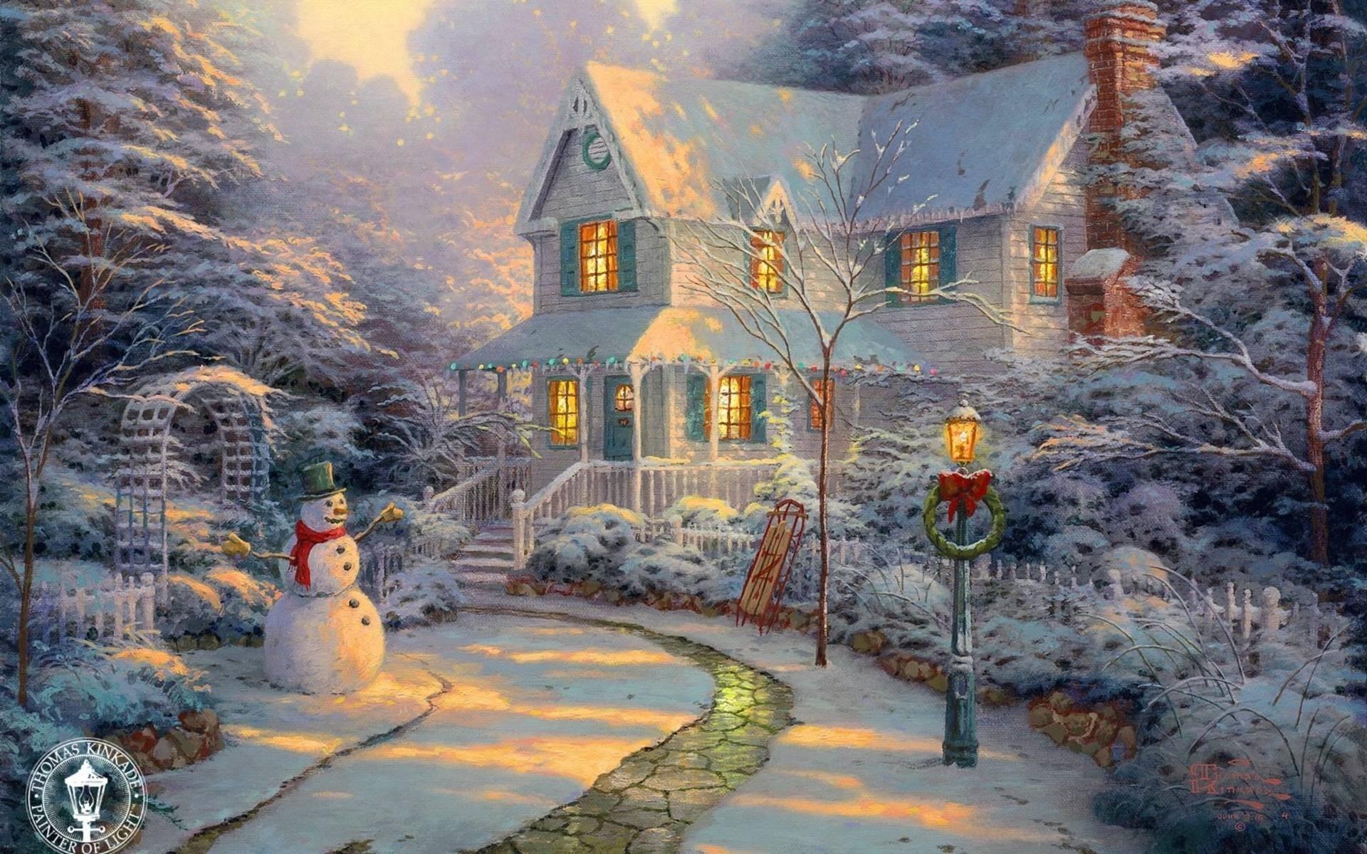 10 Top Thomas Kinkade Christmas Wallpaper Desktop FULL HD 1080p For PC Background