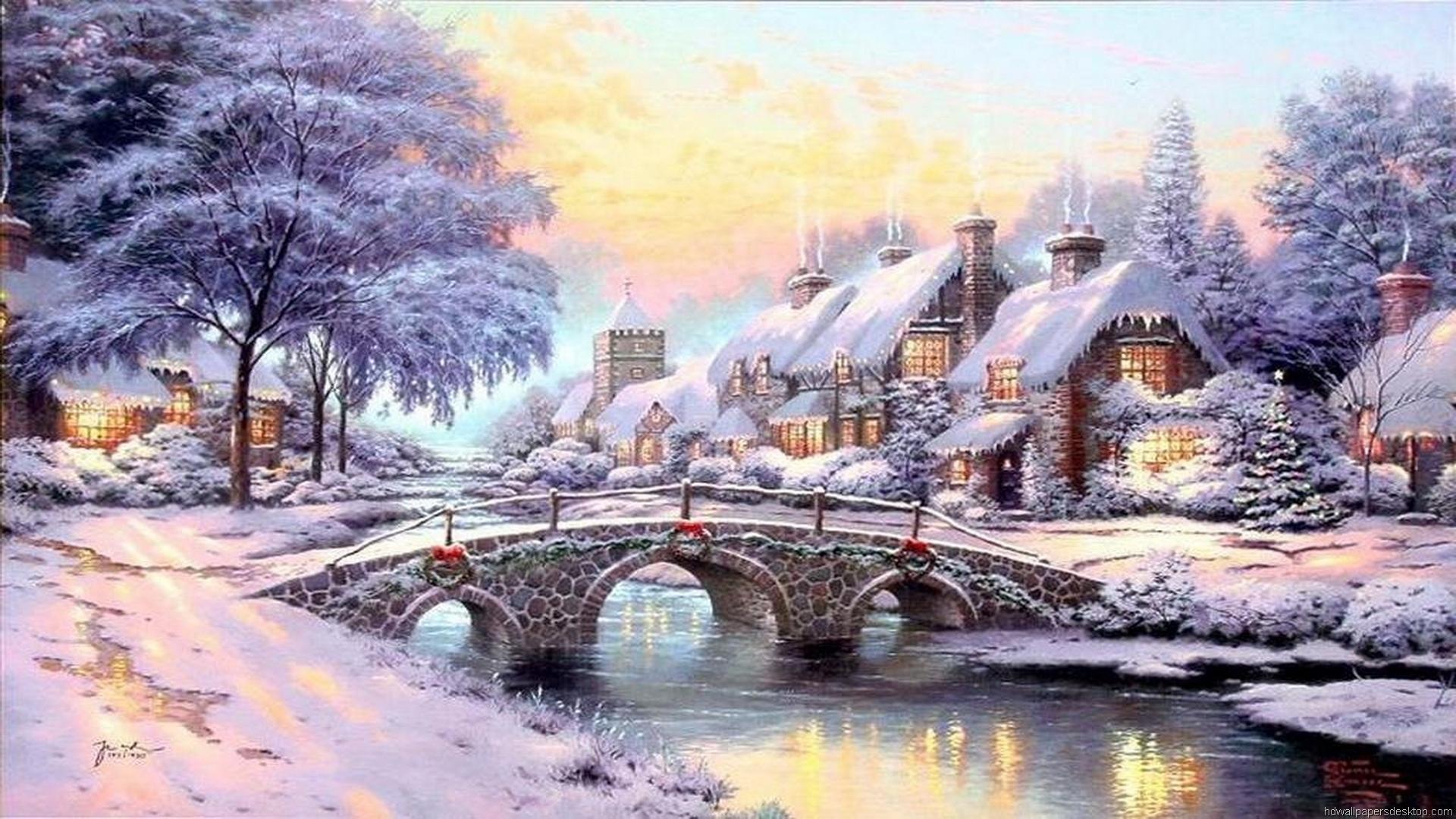 thomas kinkade christmas village | thomas kinkade wallpaper