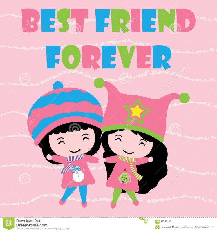 10 Best Cute Wallpaper For Girls FULL HD 1920×1080 For PC Background 2020 free download two cute girls on pink striped background cartoon kid postcard 748x800