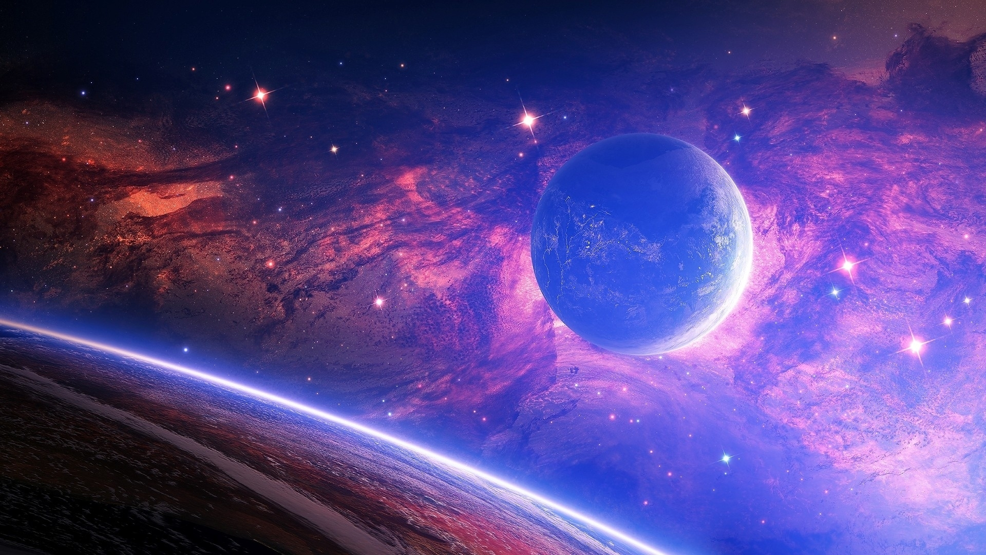 wallpaper : planet, light, spots, space 1920x1080 - goodfon