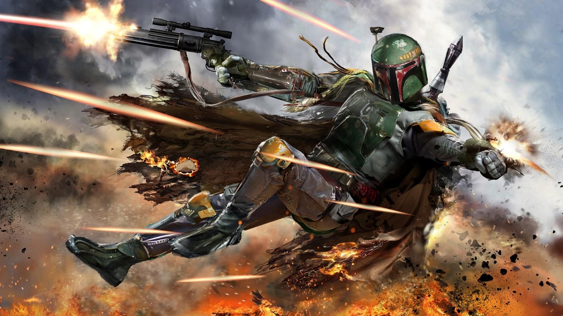 wallpaper : star wars, battle, boba fett, bounty hunter