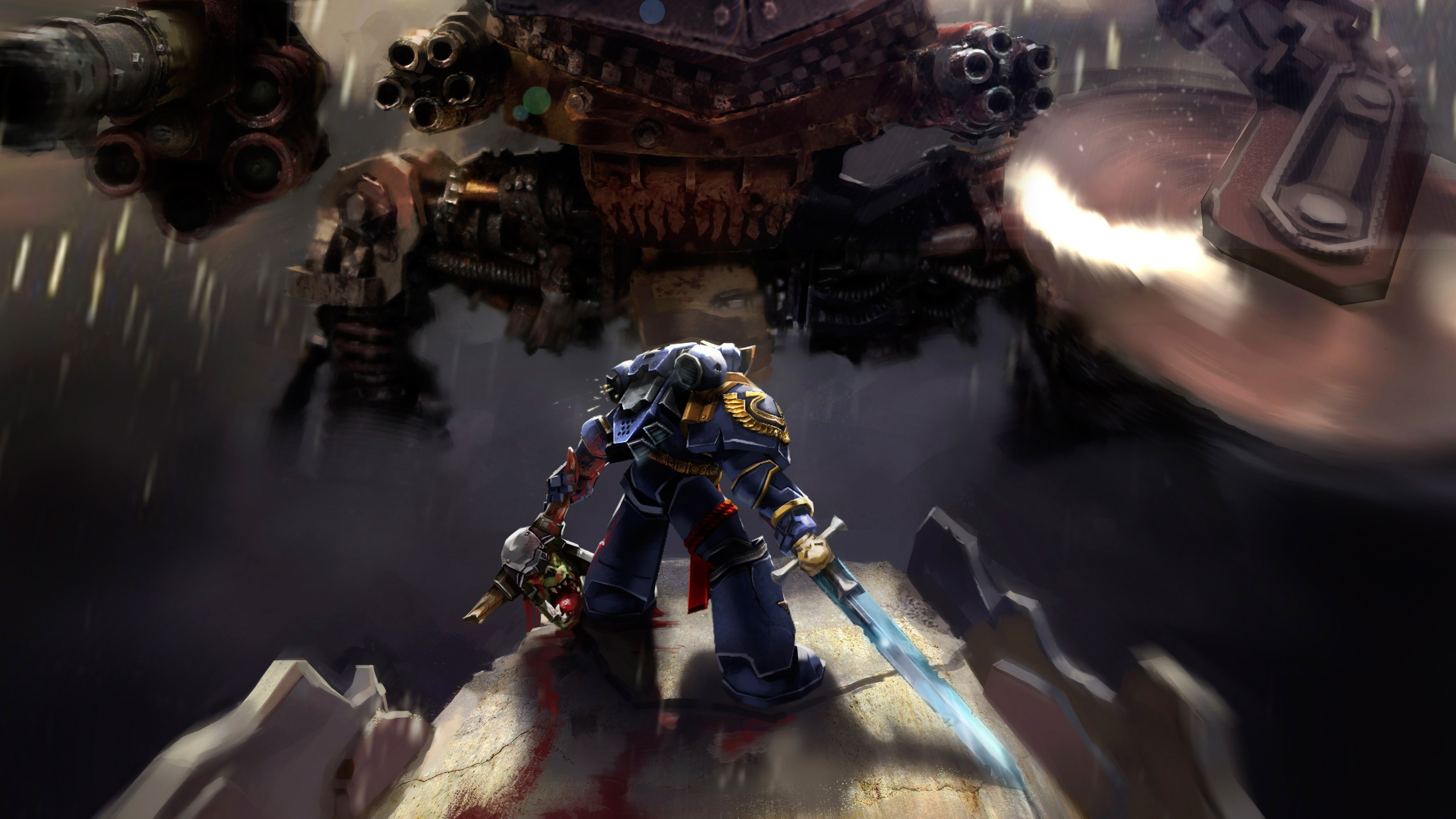 wallpaper warhammer 40k space marine, ultramarines, 4k, games, #5249