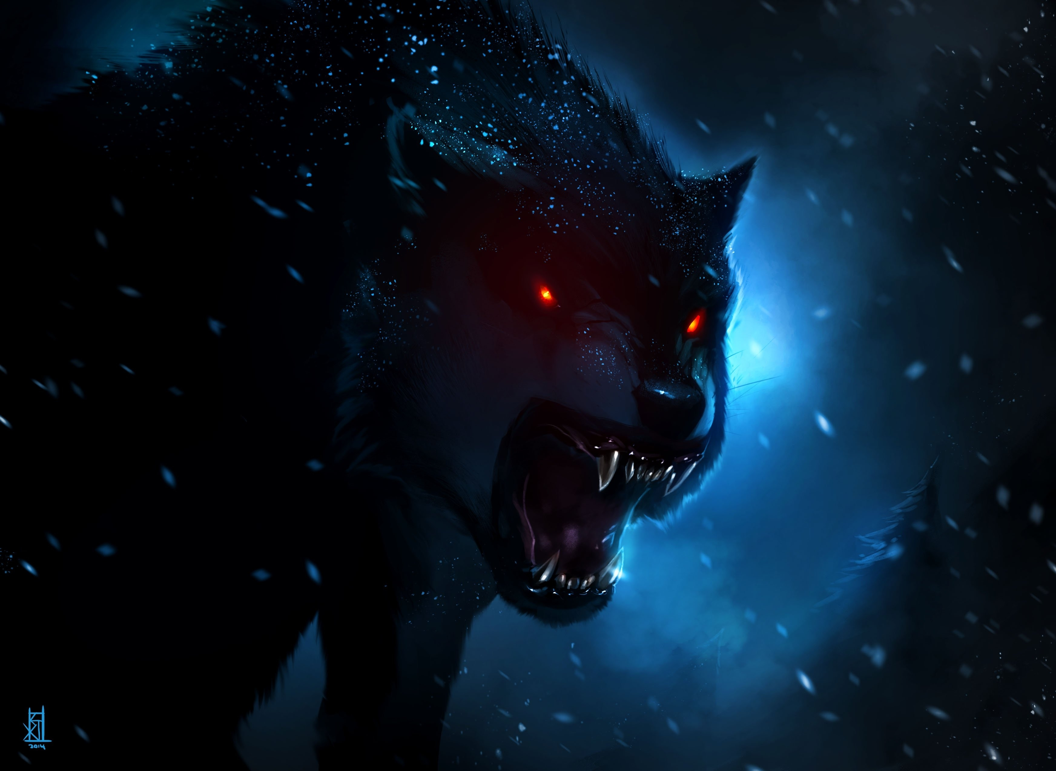 wolf fantasy animal red eyes dark wallpaper | 3488x2547 | 901159
