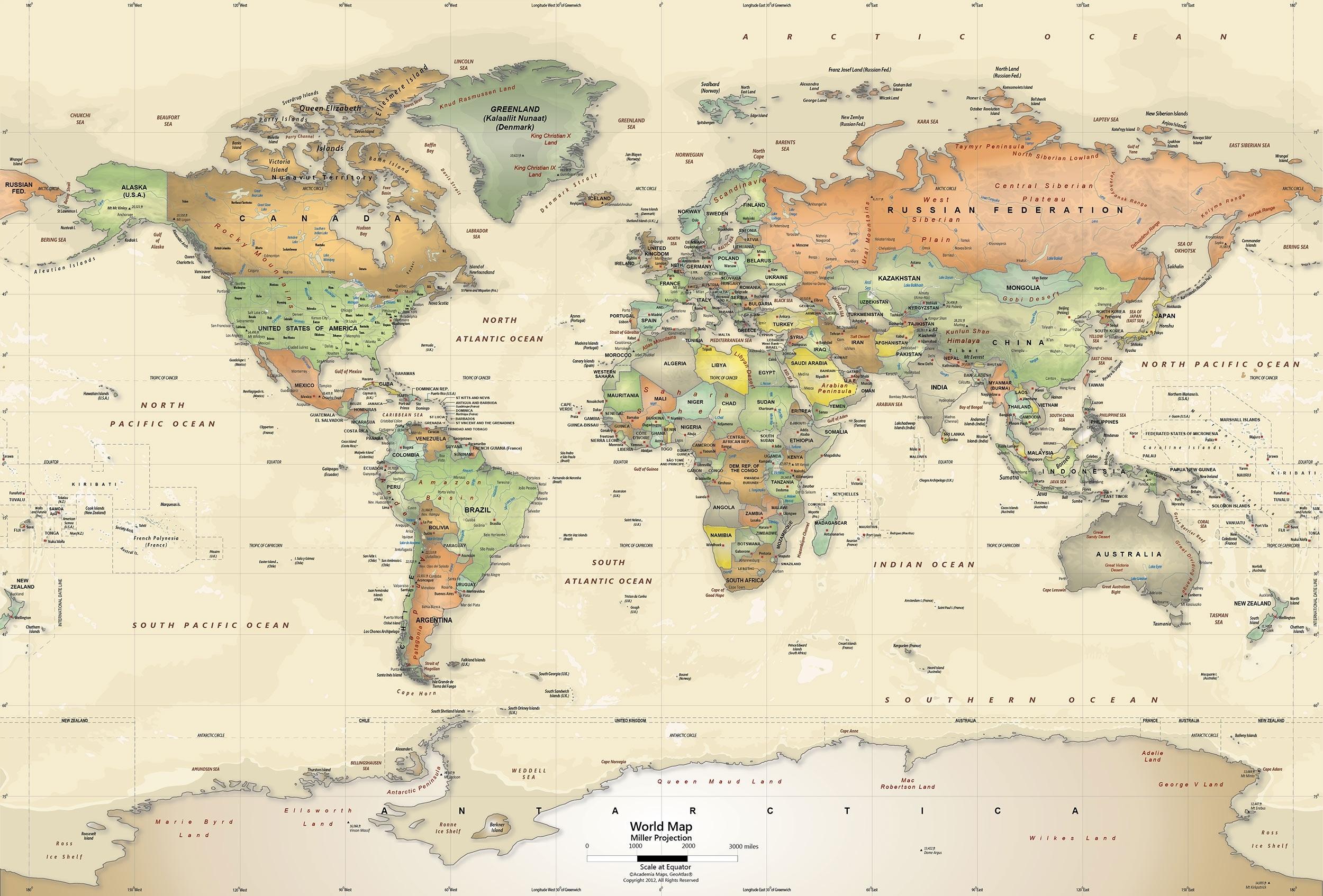 world map wallpaper murals - political - world maps online