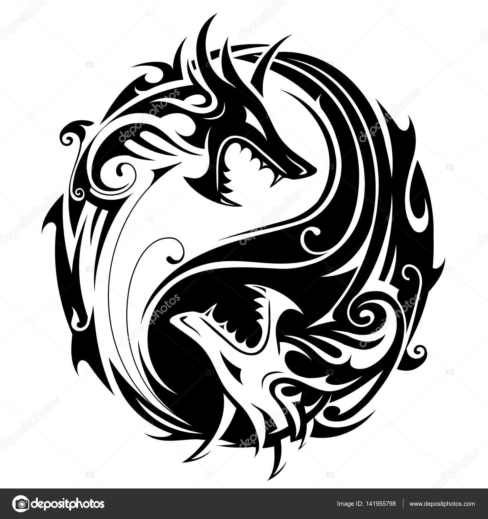 yin yang dragons — stock vector © akv_lv #141955798
